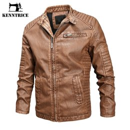 mens vintage leather motorcycle jackets NZ - KENNTRICE Vintage Mens Leather Jackets Motorcycle Bomber Jacket New Autumn Stand Collar Male Leather Coat