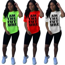 top selling candy 2019 - Hot Selling Women casual summer T-shirt tops vest plus size jogging jogger gym short cap sleeve candy color print letter