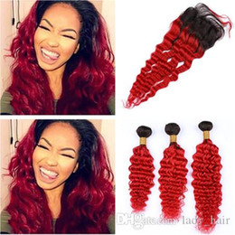 Discount black red ombre hair weave - Black to Red Ombre Deep Wave Peruvian Human Hair Weave Bundles with Closure #1B Red Ombre 4x4 Lace Front Closure with We