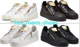 Wholesale dark green sheets online – oversize Hot New Fashion Metal zipper Flats Shoes Men Women metal Iron sheets Genuine Leather Sneakers Size