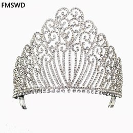 New Gold Silver Color Queen luxury Crystal Rhinestone Big Tiara For Wedding  Large Crown Hair Accessories For Bride Headress C18122501 8ee837546aa9
