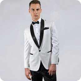 Beige Slim Suits For Men Australia - Custom White Groom Tuxedos Slim Fit Men Suits for Wedding Shaw Lapel Man Blazer Jacket Pants 2Piece Prom Party Terno Masculino Costume Homme