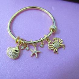 $enCountryForm.capitalKeyWord Australia - high quality Designer Full cubic zirconia stone paved crab star cuff bangle 18K yellow gold plated bracelets for women