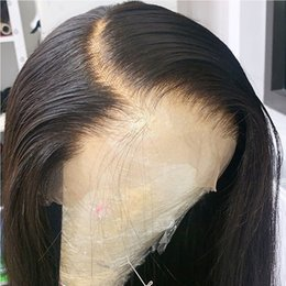 hair black bob silky Canada - Deep Part 13X6 Lace Front Wig With Baby Hair 9A Pre Plucked Brazilian Virgin Short Human Hair Bob Wigs for Black Women