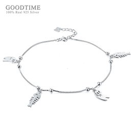 girls cute anklet feet 2019 - Fresh Cute Pure 925 Sterling Silver Anklet Cat And Fish Bone Round Bead Anklets For Women Ankle Bracelet Foot Chain Girl