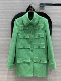 Wholesale stylish lapel coats resale online - Stylish casual stylish elegant three dimensional tailoring pocket decoration lapel jacket Coat