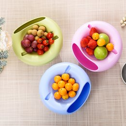 Container Plate Australia - Multi-purpose Double Layer Dried Fruit Plate with Cellphone Stand Holder Snacks Seeds Dish Container Storage Box