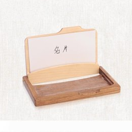 eco wood toys UK - Wooden Business Card Holder Creative Fashion High Grade Solid Wood Multi Function Storage Box Gift For Friends Hot Sale 14js J R