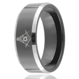 Black Ring Engrave UK - Custom Symbol laser engraving Black Tungsten Ring wholesales 8mm