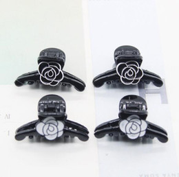 black hair claw clip NZ - Wholesale Mini Enamel Camellia Flower Hair Claw Black White Flower Hair Clips Women Girl Hair Jewelry Accessories