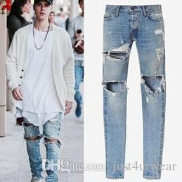 justin jeans Australia - Kanye West Mens Distressed Blue Denim Jeans Justin Bieber Fashion Street Slim Long Trousers Pants Mens Hip Hop Ripped Holes Jeans