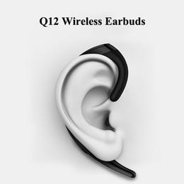 Ingrosso Q12 Auricolari wireless Cuffie Bluetooth Indipendenti Appesi Design Auricolari wireless Cuffie auricolari per iOS Android