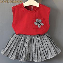 Girls Vest Shirt Australia - Love Dd&mm Girls Sets 2019 Summer New Children's Clothing Girls Sleeveless Pocket Print Cotton Vest T-shirt + Plaid Skirt Set Y190518