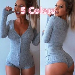 blue long sleeves women jumpsuit Australia - NEW Women Long Sleeve V-neck Sexy Slim Jumpsuit Rompers Autumn Winter Warm Knitted Playsuit Pants (Red, Gray, Green, Black, Blue )