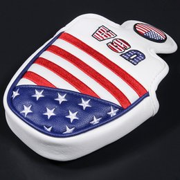 magnetic flag UK - Golf Putter Headcover USA FLAG Mallet Putter Headcovers Golf Club Head Cover Embroidery PU Leather Magnetic Free Shipping