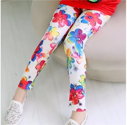 bow print leggings Australia - 1PC New 11 Colors Kids Girls Leggings Baby Girls Fall Srping Tights Little Girls Elastic Flowers Leaf Printing Trousers Pants Wholesale INS
