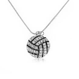 $enCountryForm.capitalKeyWord Australia - 1PC NEW Fashion Vintage Silver Plated Alloy Rhinestone Crystal Choker Basketball Volleyball Pendant Necklace Sports Jewelry