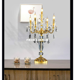 Free Bedside Table Australia - Free Shipping European 100% Copper Table Lamp Luxury Crystal Table Lamp European Style Bedroom Bedside Lighting Fixture Lighting