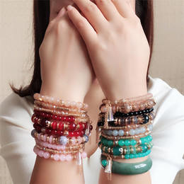 Wholesale Crystal Bead Bracelets for Women men Kids Vintage Bracelet Female Jewelry Tassel Natural Stone Charms Wristband Gift A