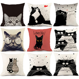 Black Cat Decor Australia - Cute Pillow Sofa Waist Throw Cushion Home Car Decor Vintage white and black Cat Dog Cotton 45x45 cm