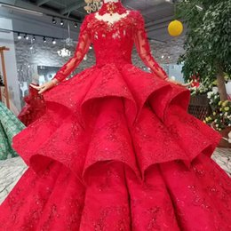 Discount organza rose flowers - Luxury Ball Gown Prom Dresses Sexy High Neck Long Sleeves Lace Up Back Rose Evening Party Dresses Dubai Long Train Pleat