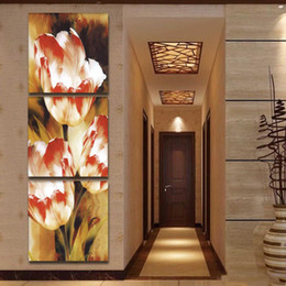 pictures tulip paintings Australia - 3 Pcs Tulip Flowers Picture HD Printed Canvas Prints Painting Wall Pictures For Living Room Wall Art No Frame
