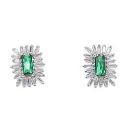$enCountryForm.capitalKeyWord UK - 2019 Summer mini Statement Earrings Women big green Square Stone stud Earring INS Wedding Jewelry Fringes Accessory Gift 2 color