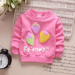 $enCountryForm.capitalKeyWord Australia - 4 Colors Baby Girl Clothes Three Strawberry Cardigan Long Sleeve Coat Sweatshirt For Girls Single Row Button Cotton
