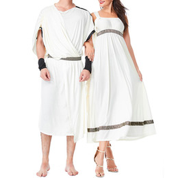 Wholesale greek goddess cosplay online – ideas New Greek Goddess Halloween Cosplay Dress White Suit for Arab and Roman Couples In Medieval Times Halloween Cosplay Dress Cloth