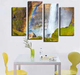 $enCountryForm.capitalKeyWord NZ - Canvas Painting 4pcs Wall Paintings Home Decorative Modern Haifoss Canyon Watefall Situated Combination for Creative Idea Decor