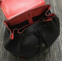 Black Backpack Punk Australia - Men Women Backpack Real Leather School Bag For Teenagers Punk Rivet Female Travel Bags Black Bolsos Mujer women and men Backpack