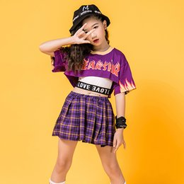 Wholesale red jazz costumes resale online - Fashion Kids Hip Hop Dance Costume Purple Street Sets Plaid Skirt Children s Day Performance Jazz Stage Costumes For Kids BL2166