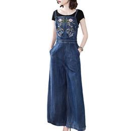 $enCountryForm.capitalKeyWord UK - 2019 summer new vintage strap denim jumpsuit retro embroidered women split wide leg jeans overalls