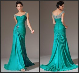 Discount classic Dresses online shopping - New Best Selling Mermaid Floor Length Turquoise Chiffon Cap Sleeve Prom Dresses Beaded Pleats Discount Prom Gowns Formal Evening Dresses