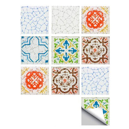 $enCountryForm.capitalKeyWord Australia - Color Mosaic Flower Pattern Tile Wall Sticker PVC Waterproof Sticker Decals Bathroom Kitchen Decor DIY Sticker