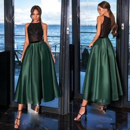 $enCountryForm.capitalKeyWord Australia - Stylish Hunter Green Tea Length Prom Dresses Illusion Top Draped Satin Short Evening Gown Sleeveless Zipper Back paolo sebastian Prom Dress