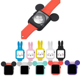 Wholesale smart i watch resale online - Cute cartoon rabbit Mouse ear Soft Silicone protective case for Apple Watch Case i Watch series cover shell mm