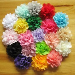 wholesale chiffon flowers Australia - 7CM Soft Chic Chiffon Flowers Flatback Flet Flowers for Kids Hairpin Hair Accessories Craft Flowers DIY Baby Headband