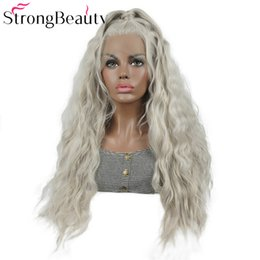 loose ponytails Australia - Loose Wave Lace Front Wig Glueless Platinum Sliver Grey Wig Heat Resistant Hair With Ponytail for Women Freestyle