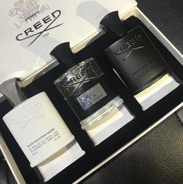 Venta al por mayor de 3pcs Perfume Creed establecen Desodorante incienso fragante aroma Colonia para Hombres Silver Mountain Water / Credo Aventus / verde irlandés Tweed 30ml Aromather