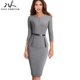 880b86f5e81 Nice-forever Vintage Elegant Wear To Work With Belt Peplum Vestidos  Business Party Bodycon Office Career Women Dress B473 Q190328