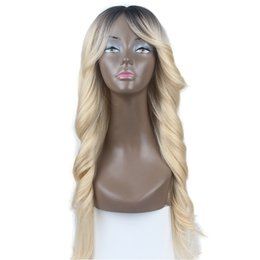wig cosplay long blonde 2019 - Top Sale Cosplay Dark Roots Blonde Long Silky Straight Loose Wave Heat Resistant High Quality Synthetic Hair Glueless Wi