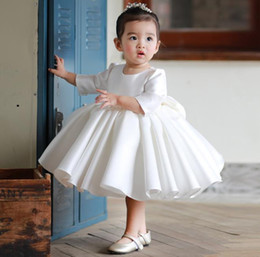 party kids special occasion dresses Canada - White Knee Length Baby Girls Dresses for Party Half Sleeve Satin O Neck Kids Clothes Children Wear for Special Occasion