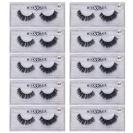 shortest false eyelashes 2019 - 10 Pairs lot 3D Mink Lashes Natural HandMade Full Strip Lashes Transparent terrier Short Mink Style False Eyelashes chea
