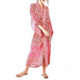 655455673e6ab Womens Spring Vacation Chiffon Kimono Cardigan Bohemian Retro Red Paisley  Floral Printed Swimsuit Cover Up Loose Mid-Calf Maxi L