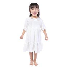 Мода Маленькие Белые Хлопка Девушки С Коротким Рукавом Платье С Лентой Оптом Детский Бутик Одежда Для Лета на Распродаже