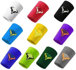 tennis wrist support sweatband NZ - 1 pc Nadal Wristband 12.5*7.5cm cotton wristbands sport sweatband hand band for gym volleyball tennis sweat wrist support guard