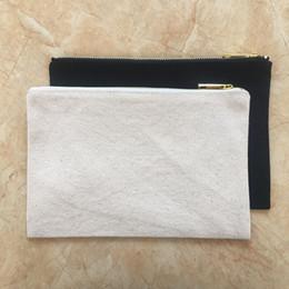 $enCountryForm.capitalKeyWord Australia - Natural canvas blank makeup bag black cotton cosmetic bag plain zipper pouch bridesmaid gift clutch toiletry bag 7x10 inches.