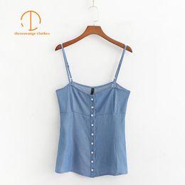 spaghetti top button 2019 - New Summer crop top women Denim blue sleeveless off shoulder Single breasted spaghetti strap streetwear Casual tank tops