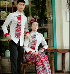 carnival uniforms Australia - Autumn Winter Ethnic Clothing thick Pure cotton stand collar Costume long sleeve gray Red Dai Unique Suits Asian Hotel service Uniform